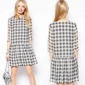 Gray Gingham Dress Sheer Drop Waist Lined by ASOS